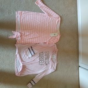 2 girls size L (10-12) tie front shirts